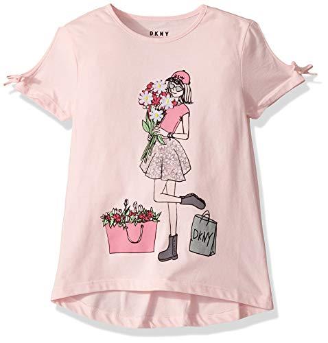 DKNY Girls' Little Short Sleeve Printed Fashion T-Shirt, Smell The Roses CTN Candy Pink, 4 (Dkny Short Sleeve Tee T-shirt)