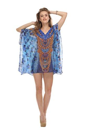 D G PRINTS FAB Women's Kaftan Short Beachwear Swimwear Bikini Cover UPS Beach Dress (Free Size, DG - Junior D&g