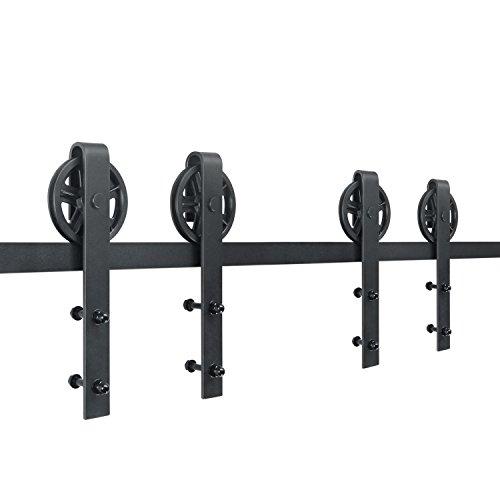 SMARTSTANDARD 10ft Double door Sliding Barn Door Hardware (Black) (Big Industrial Wheel Hangers Shape Hangers) (2 x5 foot Rail) by SMARTSTANDARD