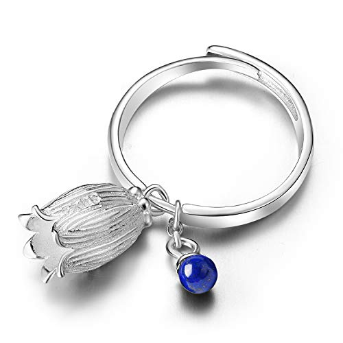 Lotus Fun S925 Sterling Silver Rings Natural Lapis Gemstone Fresh Redbud Bell Flower Open Ring Handmade Jewelry Unique Gifts for Women and Girls (Silver)