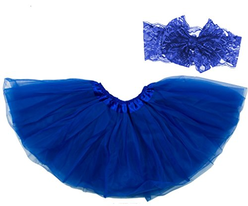 Dancina Tutu Headband Toddlers Unisex Classic Tulle Skirt Soft Lace Bow Knot 2-7 Years Royal Blue