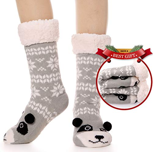 Womens Slipper Socks Fuzzy Warm Thick Heavy Fleece lined Christmas Stockings Fluffy Winter Socks With Grippers (Christmas Panda (Grey) ()