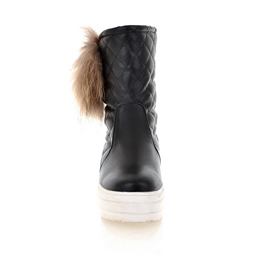 Round Low Black 7 Heels US AmoonyFashion B Boots 5 Toe Plush Close Artificial Frosted Short turf PU Womens M with Solid gwqwI1E