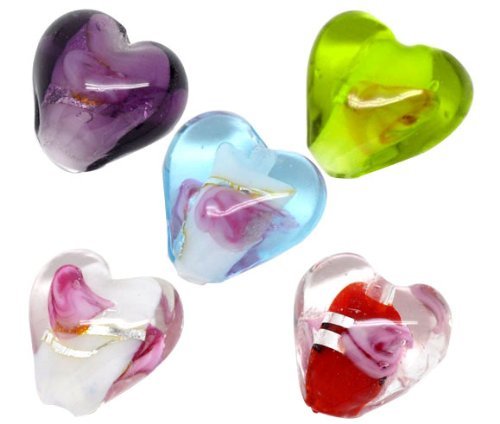 Housweety 50 Mixed Lampwork Glass Color-Lined Foil Heart Beads