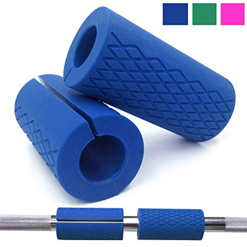 Greententljs Bar Grips Silicone fit Barbell Bars and Dumbbell Handles Grip for Weight Lifting Powerlifting Fitness Training Bodybuilding (Blue, 1