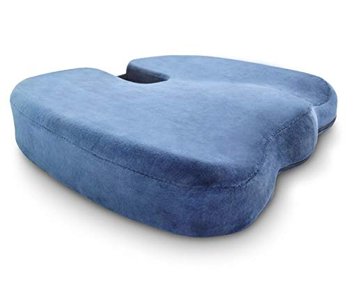 Crafty World Comfy Pro Memory Foam Seat Cushion – Provides Rapid Relief from Back, Tailbone, Hip Sciatica Pain – Ideal for Home, Office, Car – Blue