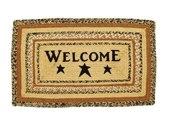VHC Brands Kettle Grove Stencil Welcome Entryway Mat (Heirloom Black Rectangular Rug)