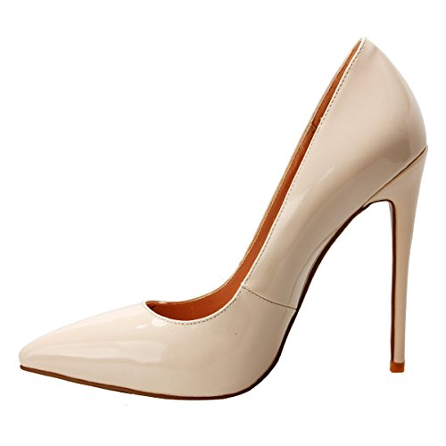Heel ZAPROMA Petent Luxury Stilettos Toe Pointed for 15 Light Pumps Beige 4 Shoes Size Women High US rYrHwq