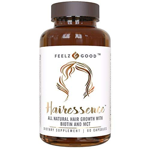 HAIRESSENCE - All-Natural Hair Growth Biotin Multivitamin Formula - Stronger Healthier Hair. Scientifically Formulated w/MCT, Vitamin B5 & D3, Copper & More - Supplement for All Hair Types