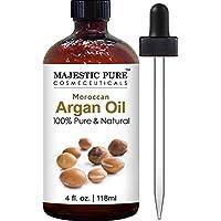 Aceite de argán marroquí puro majestuoso para cabello, rostro, uñas, barba y cutículas - para hombres y mujeres - 100% natural y orgánico, 4 fl. onz.
