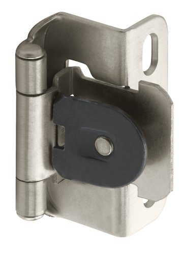 Amerock BPR8719G10 Single Demountable, Partial Wrap Hinge with 1/2in(13mm) Overlay - Satin Nickel - 2 Pack - Closing Partial Wrap Overlay Hinges