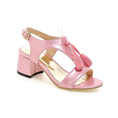Allhqfashion Donna Fibbia Gattino Tacco Vernice In Pelle Sandali Open Toe Rosa