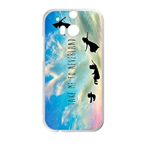 Peter Pan Take Me To Neverland-A Dreaming Place of Childhood Forever and Eternity Hard Plastic Phone Case ,TPU Phone case for HTC One M8,white