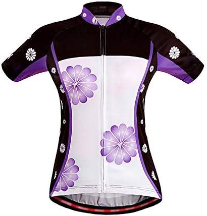 サイクルジャージ リフレクティブレディースサマーサイクリングジャージ サイクリングTシャツ半袖ジャージUV保護、バックポケットとフロントフルジッパー付き 吸汗速乾高通気 (色 : 紫の, サイズ : S)
