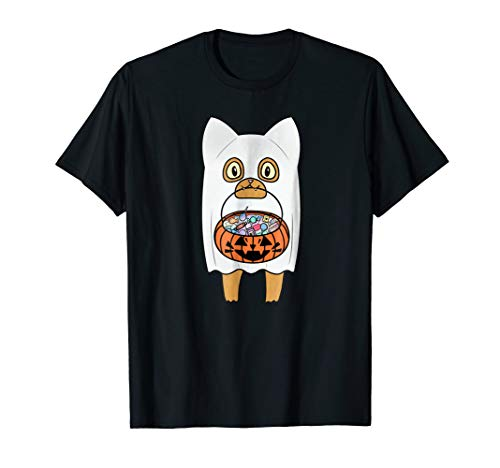 Trick-or-Treat! Halloween Cat in Ghost Costume T-shirt -