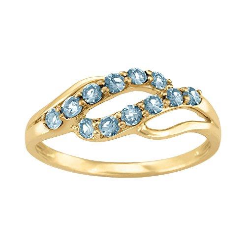 ArtCarved Iridescent Simulated Blue Zircon December Birthstone Ring, 10K White Gold, Size 4.5