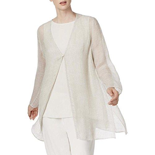 Eileen Fisher Womens Linen Woven Basic Jacket Beige L - Eileen Fisher Long Wool Jacket