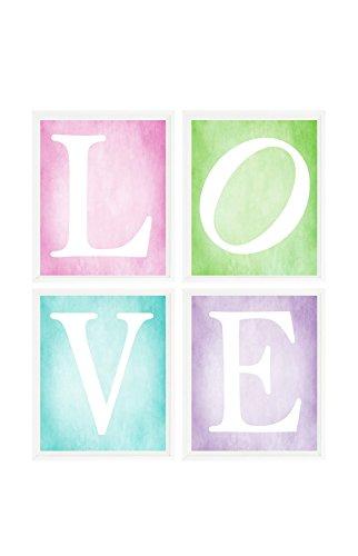 Amazon.com: LOVE Wall Art, Girl Room Decor, Girl Print, Pink ...
