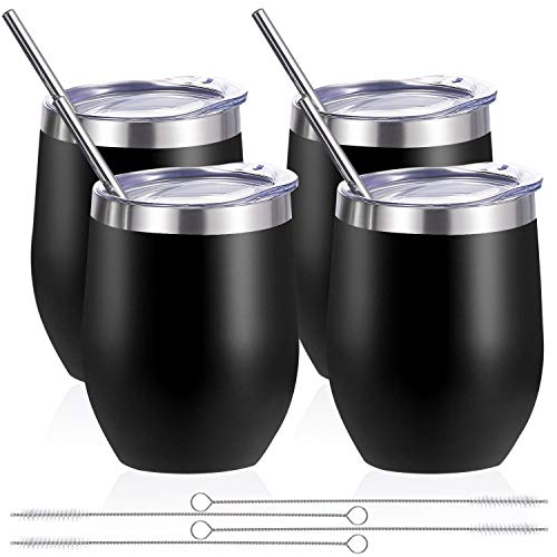 Zonegrace 4 pack 12 oz Stainless Steel Stemless Wine Glass Tumbler Double Wall Vacuum Insulated Black Wine Tumbler with Lids Set of 4 for Coffee, Wine, Cocktails, Ice Cream Including 4 Straws