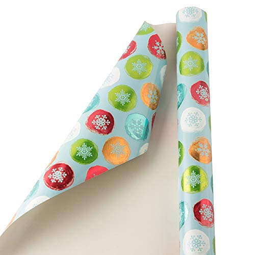 JAM PAPER Gift Wrap – Christmas Wrapping Paper – 25 Sq Ft – Painted Snowflake Orbs – Roll Sold Individually