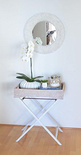 KOUBOO La Jolla Rattan Butler Tray with Folding Wood Stand, White Wash by Kouboo (Image #2)