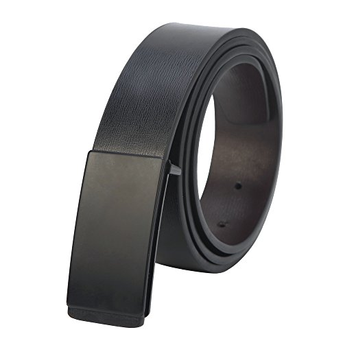 Men's Genuine leather dress reversible plaque buckle belt Adjustable Size (style 2, (Plaque Buckle)