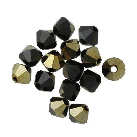 100 pcs 4mm Swarovski 5301 Crystal Bicone Beads, Jet Dorado, SW-5301