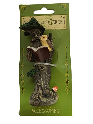 Wise Old Tree with Owl Reading Miniature Garden , Planter and Terrarium Figurine 4 1/2