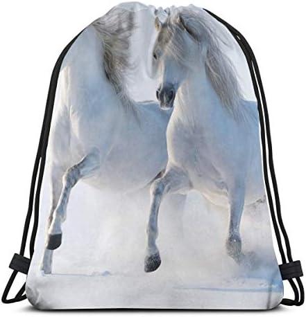 馬動物巾着バッグバックパックジムダンスバッグハイキングビーチ旅行バッグ用バックパック36 x 43cm