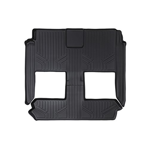 SMARTLINER Floor Mats 2nd and 3rd Row Liner Black for 2008-2018 Dodge Grand Caravan / Chrysler Town & Country (Stow