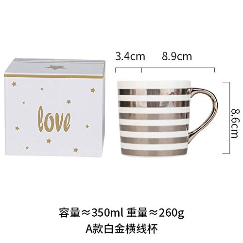 Ceramic Cup Cup Mug Simple Coffee Cup Milk Cup - Platinum Horizontal Cup