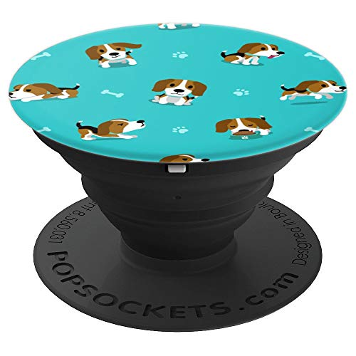 Cute Beagle Hound Dog Pattern Gift for Dog Puppy Owners - PopSockets Grip and Stand for Phones and Tablets