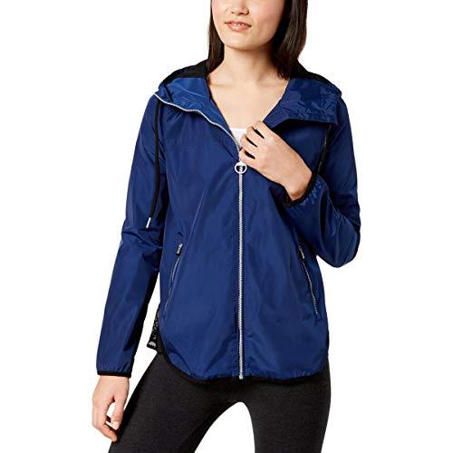 Calvin Klein Performance Water Repellant Cross-Back Hoodie Jacket (Solitaire Blue, Medium)