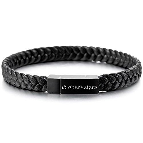 MeMeDIY Black Stainless Steel Genuine Leather Bracelet Cuff Braided - Customized Engraving