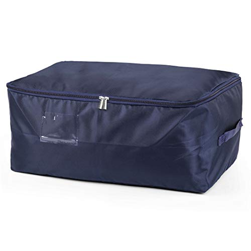 DOKEHOM DKA1014DBL2 Large Under Bed Storage Bag (5 Colors, L and XXL), Thick Ultra Size Fabric Clothes Bag, Moisture Proof (Dark Blue, L)