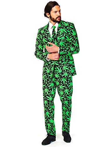 Mens Opposuits Green Suit - OppoSuits Men's Cannaboss Party Costume Suit,