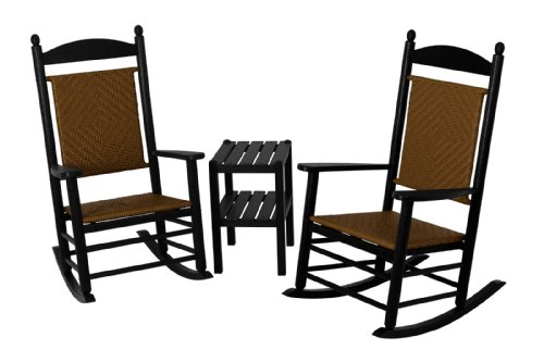 (POLYWOOD PWS141-1-FBLTW Jefferson 3-Piece Woven Rocker Chair Set, Black Frame/Tigerwood)