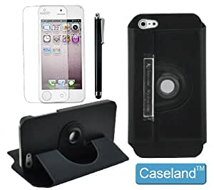 Caseland 360 degree Rotating Magnetic Folio Stand Protective Protector Leather Case For Iphone 5 5S with 1 screen protector and 1 stylus (black)
