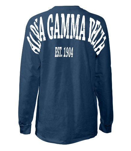 Alpha Gamma Delta Stadium Shirt Navy Large - Navy Blue Stadium T-shirt