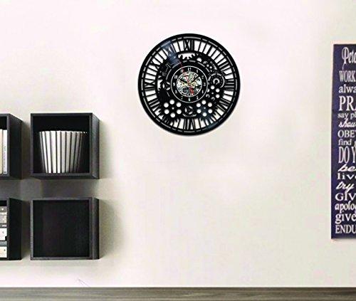 Handmade Solutions EU Steampunk Vinyl Wall Clock Heart Mechanical Art Modern Ornaments Mechanism Cogs and Wheels Gear Engineer Fathers Gift Kitchen Accessories Art Home Decor Design 4