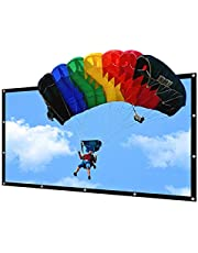 150 inch Portable Projector Screen Indoor Outdoor Lightweight Folding Movies Screen Wrinkle Free HD Projection Screen 3D Rear Front Projection for Home Theater Video Film