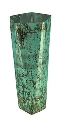 India House Mottled Aqua Blue Glass Vase 18 Inches Tall