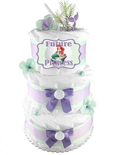 Mermaid 3-Tier Diaper Cake - Girl Baby Shower Gift - Mint and Purple ()