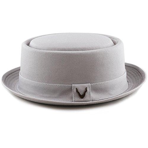 THE HAT DEPOT Black Horn Cotton Plain Pork Pie Hat (Large, Grey) by THE HAT DEPOT (Image #3)