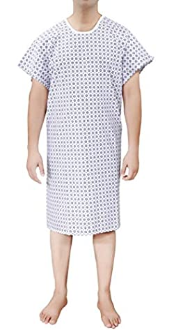 """Ruvanti Hospital Patient Gowns (2 Pack) Fits UP to 2 XL -Blue & White Hospital Gown for Men/Women Patient Medical Gowns (45"""" Long & 65""""Sweep). Labor and Delivery Gowns with 2 Pair Back Ties."""