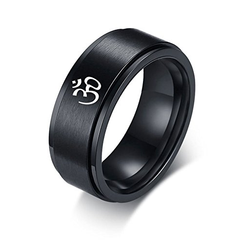 XUANPAI Stainless Steel OHM Symbol Spinner Ring Band Black Tibetan Buddhist Sprirutual Jewelry,Size (Buddhist Symbol Ring)