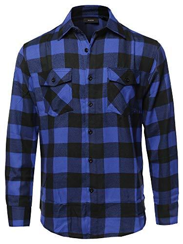 - Casual Flannel Long Sleeves Plaid Checker Shirt Black Blue Size M