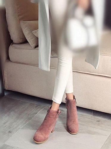 Semplice e confortevole signora Martin stivali in pelle nabuk Bootie Casual stivaletti ruvido scarpe , pink , 34