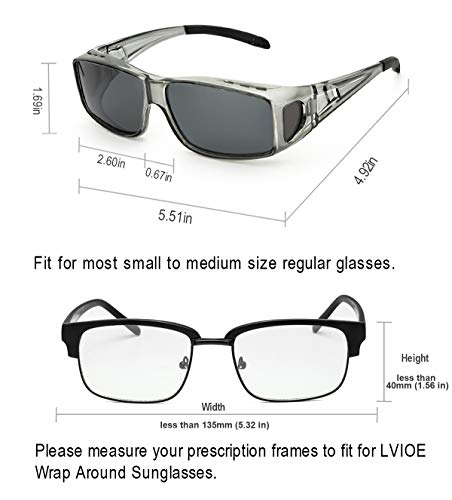 LVIOE Unisex Wear Over Prescription Glasses Rx Glasses Polarized Sunglasses