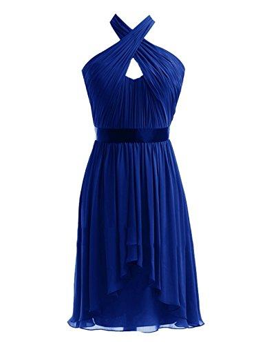 Party Halter Kleider Fanciest Brautjungferkleider Damen Wedding Blue Royal Kurz Black Chiffon YxwqTZnw